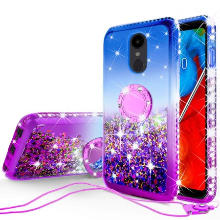 LG Stylo 4 / Stylo 4 Plus Case Liquid Quicksand Glitter Cute Phone Case KickstandClear Bling Diamond Bumper Ring Stand Girls Women for LG Stylo 4 / Stylo 4 Plus - Purple (Verizon Lg G2 Bling Case)