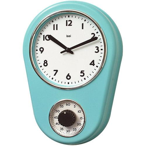 bai retro kitchen timer wall clock, turquoise - walmart