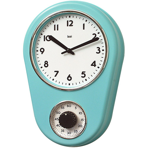 Great Bai Retro Kitchen Timer Wall Clock, Turquoise