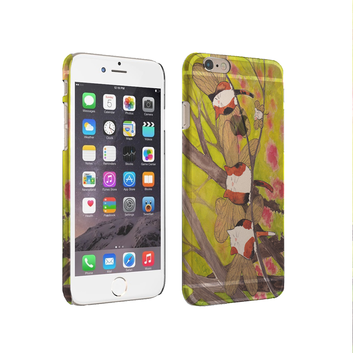 KuzmarK iPhone 6 Plus Rubber Cover Case - Calico Kitty and White Mouse Fairies with Redbud Trees Cat Art by Denise Every