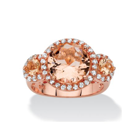 .40 TCW Peach Glass and Cubic Zirconia Rose Gold over .925 Sterling Silver 3-Stone Halo -