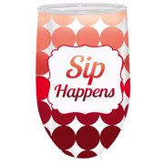 Sip Happens Double Wall Stemless Acrylic Wine Glass,12 oz.