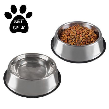 Stainless Steel Pet Bowls with Non Slip Rubber Bottom for Dogs and Cats, Set of 2 (16oz, 28oz, 32oz, or 64oz) by PETMAKER