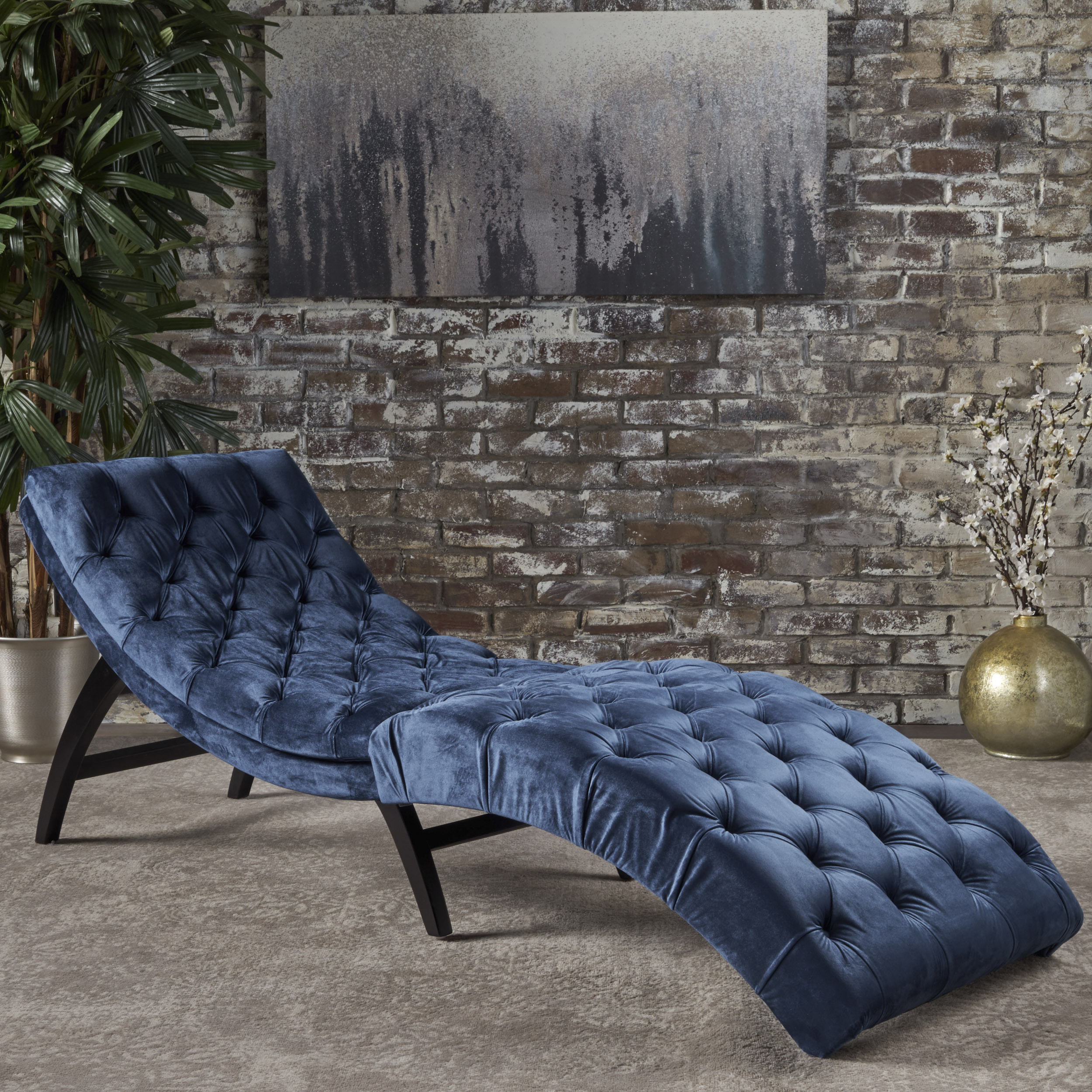 Noble House Evans Velvet Chaise Lounge,Cobalt Grey