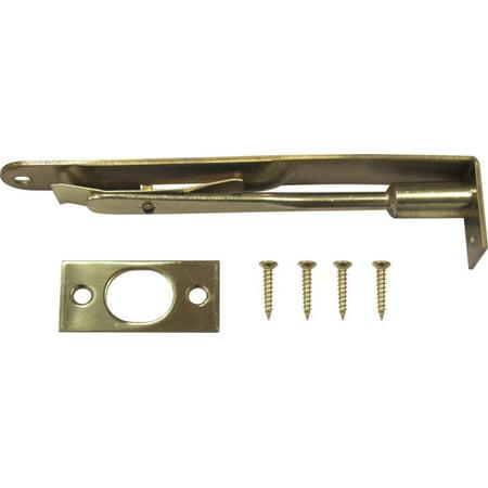 - ProSource Flush Bolt, Round Corner Bolt, 6 In L, Steel, Bright Brass