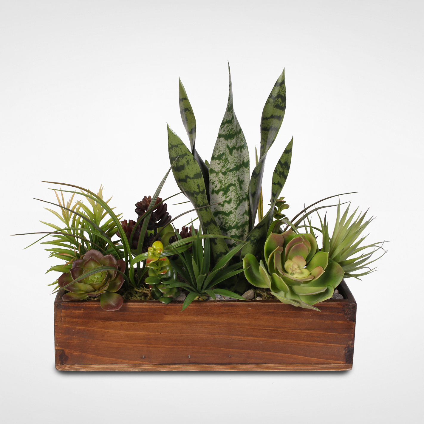 Artificial Botanical Succulent Variety in a Rustic Wooden Planter