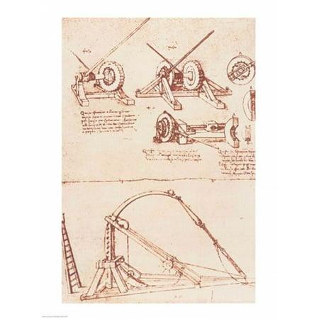 Designs For A Catapult Canvas Art   Leonardo Da Vinci  18 X 24