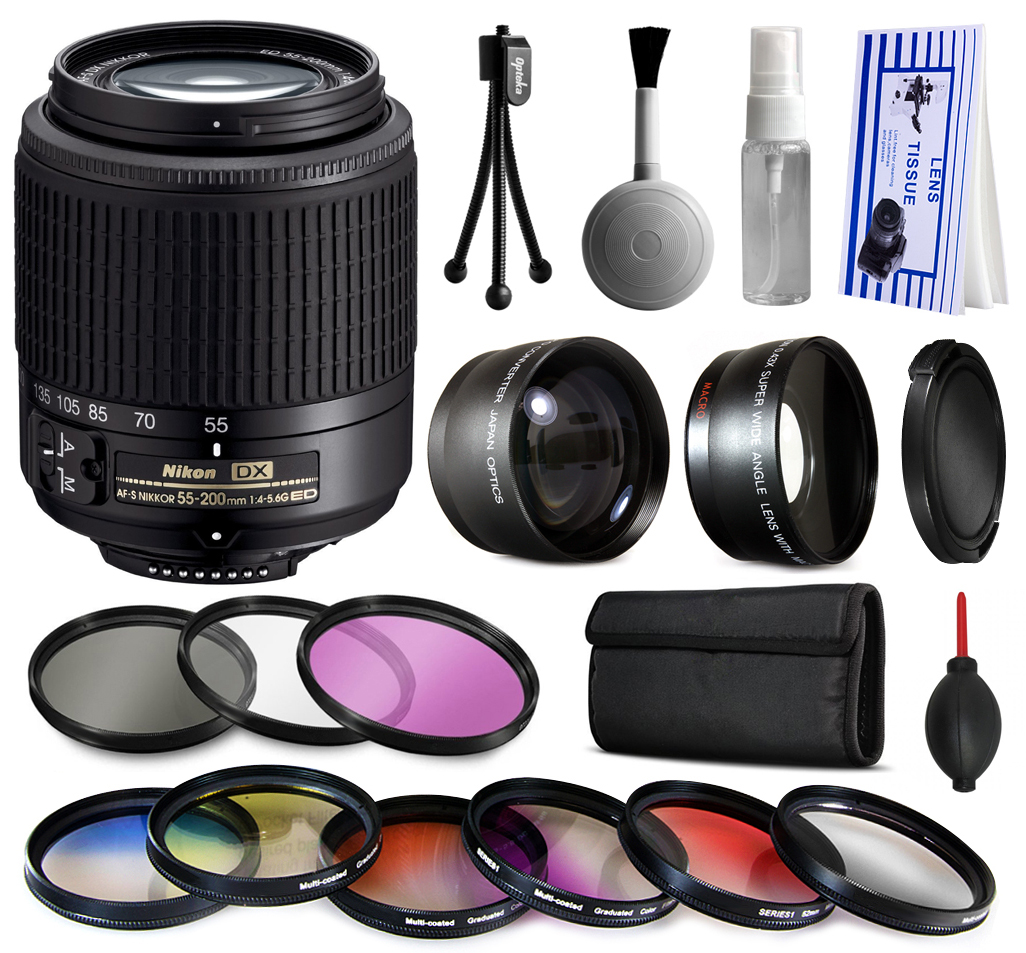 Nikon 55-200mm Lens 2156 + Premium Accessories Kit includes 2.2x & 0.43x Adapters + 9 Filters for Nikon DF D7200 D7100 D7000 D5500 D5300 D5200 D5100 D5000 D3300 D3200 D3100 D3000 D300S D90 D60