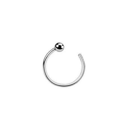 Solid White Gold 14 Karat Nose Hoop Ring