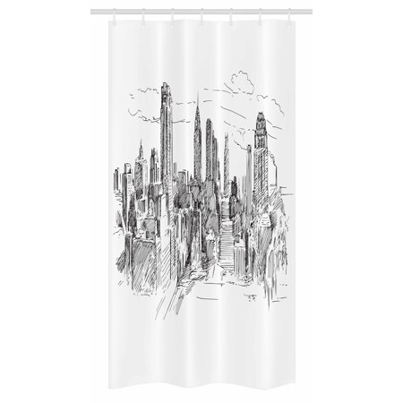 New York Stall Shower Curtain, Hand Drawn NYC Cityscape Tourism Travel Industrial Center Town Modern City Design, Fabric Bathroom Set with Hooks, 36W X 72L Inches Long, Grey White, by Ambesonne