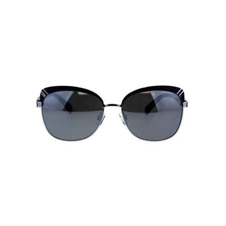 442bde6f6a7 SA106 - Womens Brow Trim Butterfly Metal Rim Designer Fashion Sunglasses  Black Silver Mirror - Walmart.com