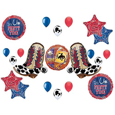 Western Theme Birthday Party Supplies Bandana Hoedown Rodeo Balloon Bouquet Decorations with Two Yeehaw Boots - Western Hoedown