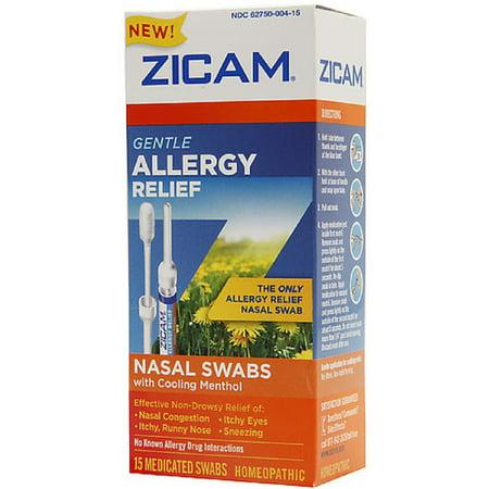 Zicam Gentle Allergy Relief Nasal Swabs with Cooling Menthol, 15 ea (Pack of 3)