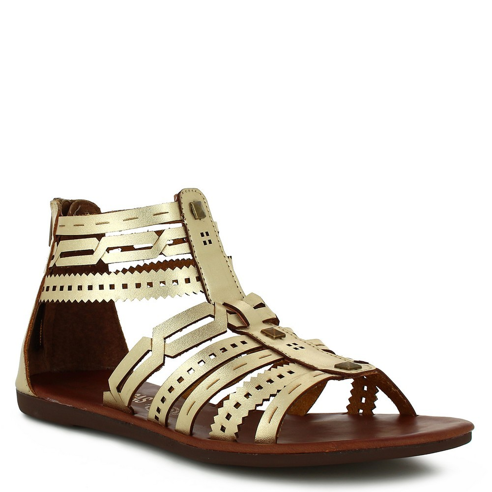 Nomadas Adult Gold Strappy Zipper Closure Open Toe Trendy Sandals by Nomadas