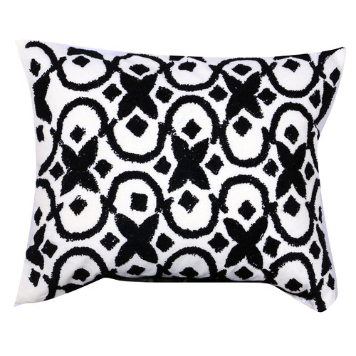 Image of A Home Embroidered Cotton Lumbar Pillow