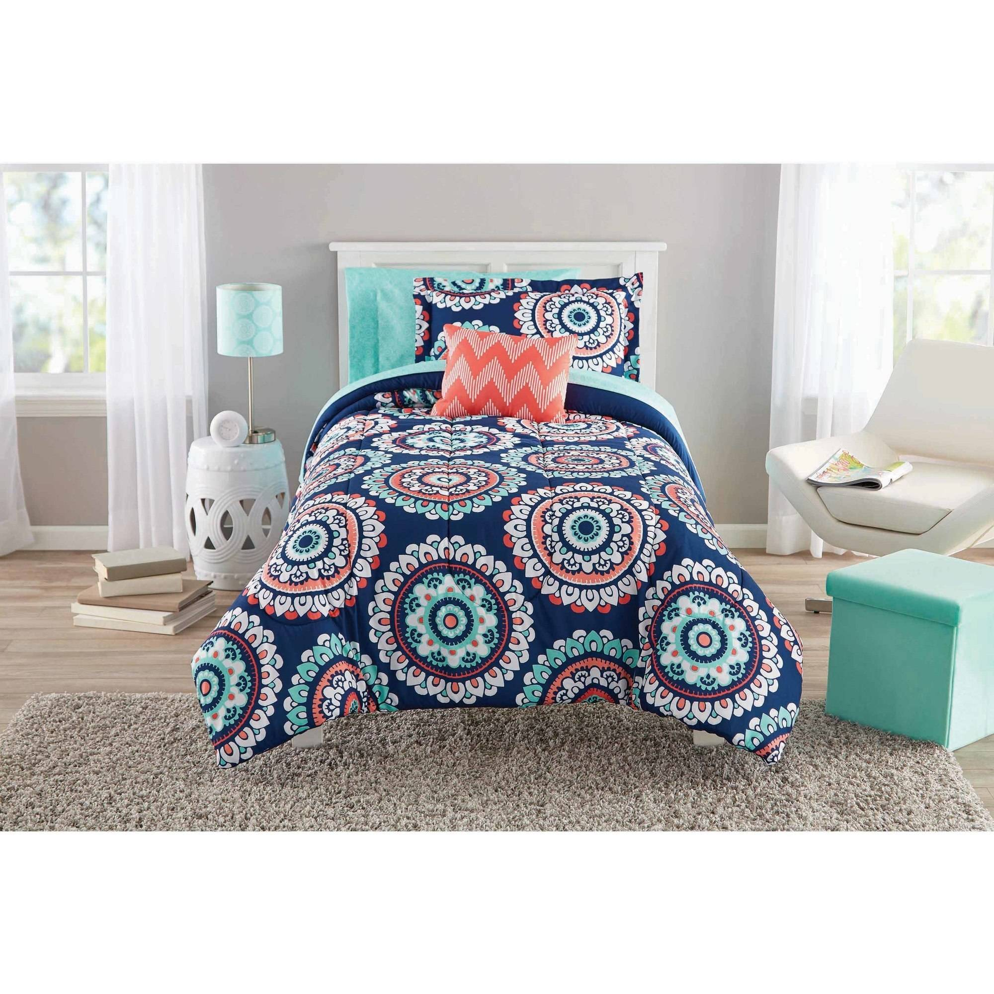 Mainstays Navy Medallion Bed In A Bag Walmart Com