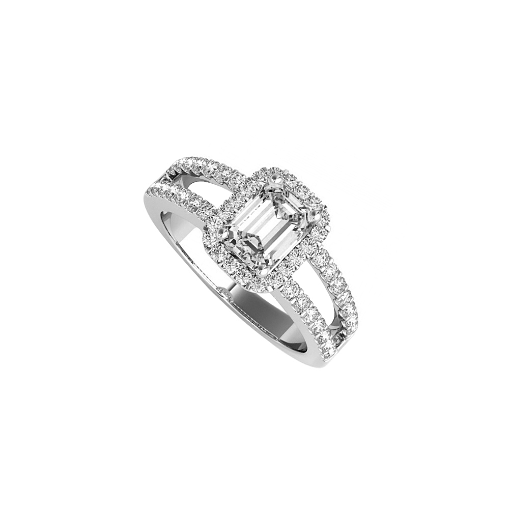 Emerald Cut CZ Halo Engagement Ring in Sterling Silver - image 2 de 2