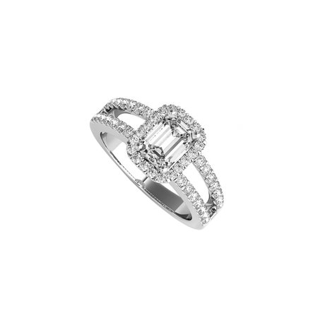 Emerald Cut CZ Halo Engagement Ring in Sterling Silver - image 7 of 7