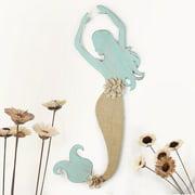 Adeco Distressed Mermaid Blue Iron and Burlap Wall Decor
