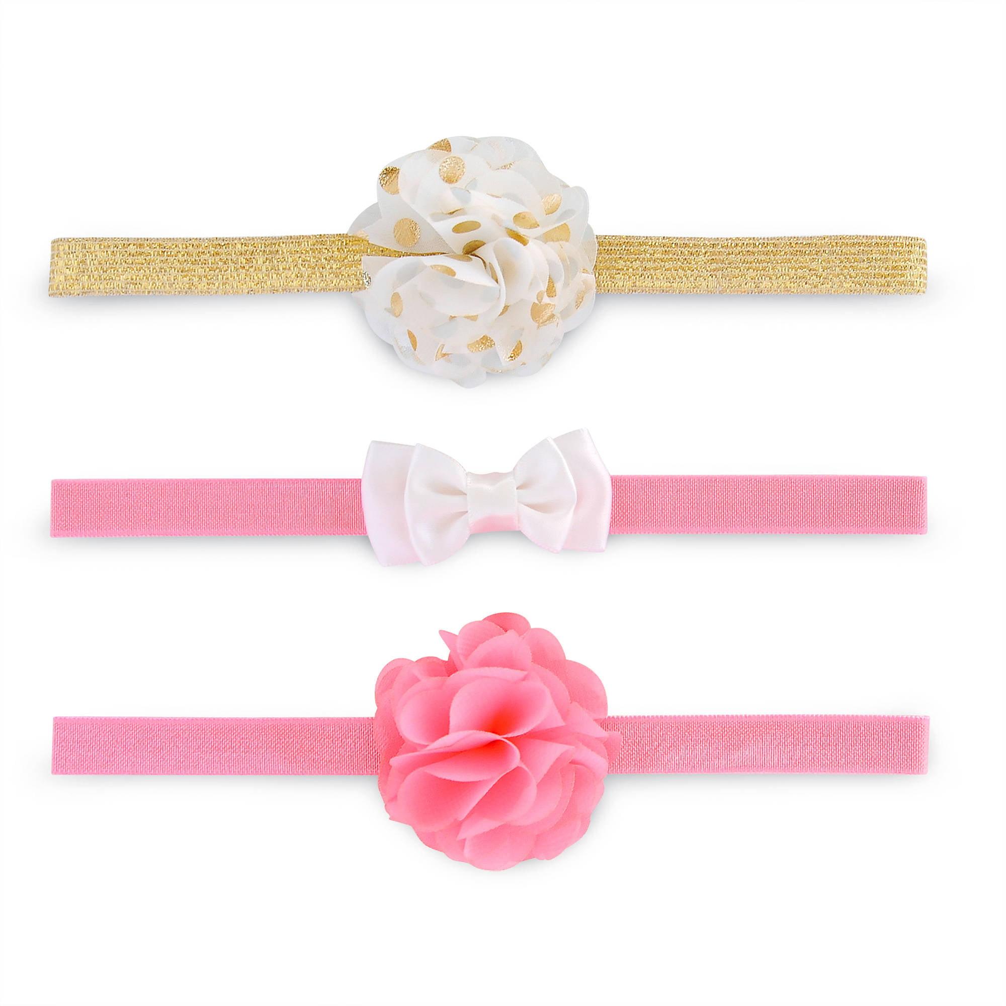 Newborn Baby Girls 3 Pack Flower Bow Glitter Headwraps, Infant Hair Accessories