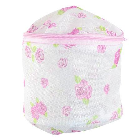 Zipper Lingerie Delicates Bra Mesh Wash Bag Home Household Net Washing Laundry Basket Rose Printed Pink (Orla Kiely Climbing Rose Hanging Wash Bag)
