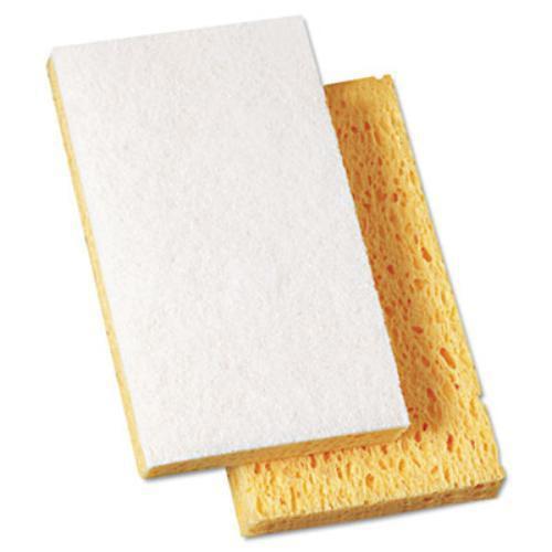 """Boardwalk 16320 Scrubbing Sponge, 3 3/5"""" X 6 1/10"""", 7/10"""" Thick, Yellow/white, 20/carton"""