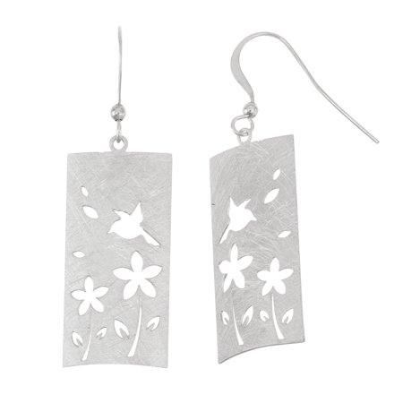 Silver Plated Scratched 15mm x 30mm Curved Rectangular Shape Stamped Flower and Bird Pattern Dangle Earring