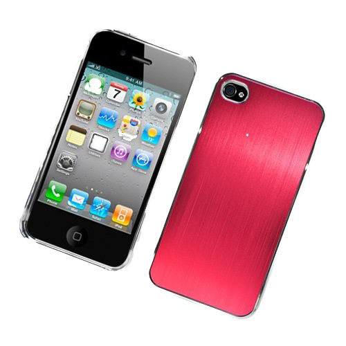 Iphone 4 Cdma 4S Luxury Metal Case C1201 - Red