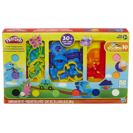 Play-Doh Stamp 'N Shape Tool Kit Set with 10 Cans of Dough & 30+ Tools Clay Tool Variety Set