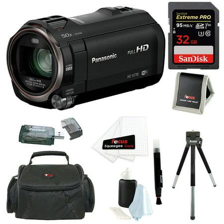 Panasonic Hc V770 Hd Camcorder W  Sandisk 32Gb Sd Card   Focus Accessory Bundle