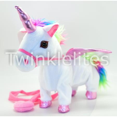 1 Walking Unicorn Musical Cowboy Singing Toy Plush Doll Horn Unicornio Electronic Walk Along Pony (color may - Cowboy Stuff