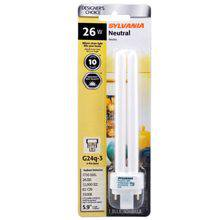 Dulux D/E 20644 Double Tube Compact Fluorescent Lamp, 26 W, T12, 4-Pin G24Q-3, 10000 hr
