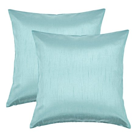 Aiking Home 18x18 Inches Faux Silk Square Throw Pillow Cover, Zipper Closure, Aqua (Set of (Faux Silk Quilt)