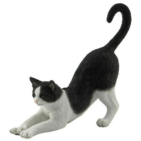 Home Design Glass Sculpture (Veronese Design WU76974AA Black and White Cat Stretching)