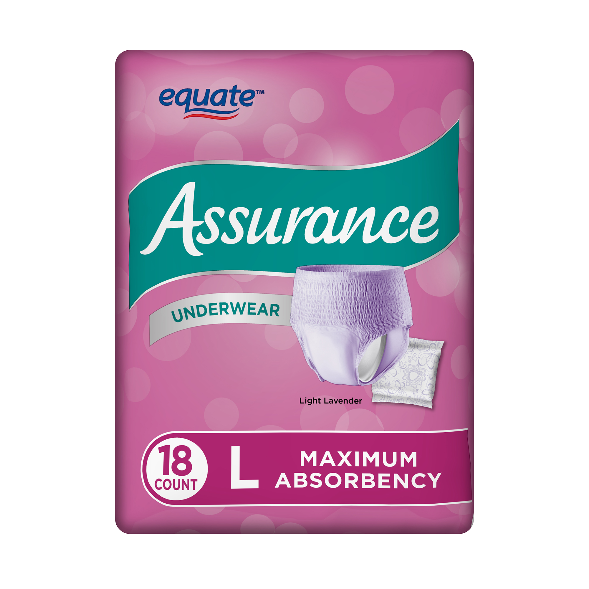 Assurance Incontinence Underwear for Women, Maximum, L, 18 Ct