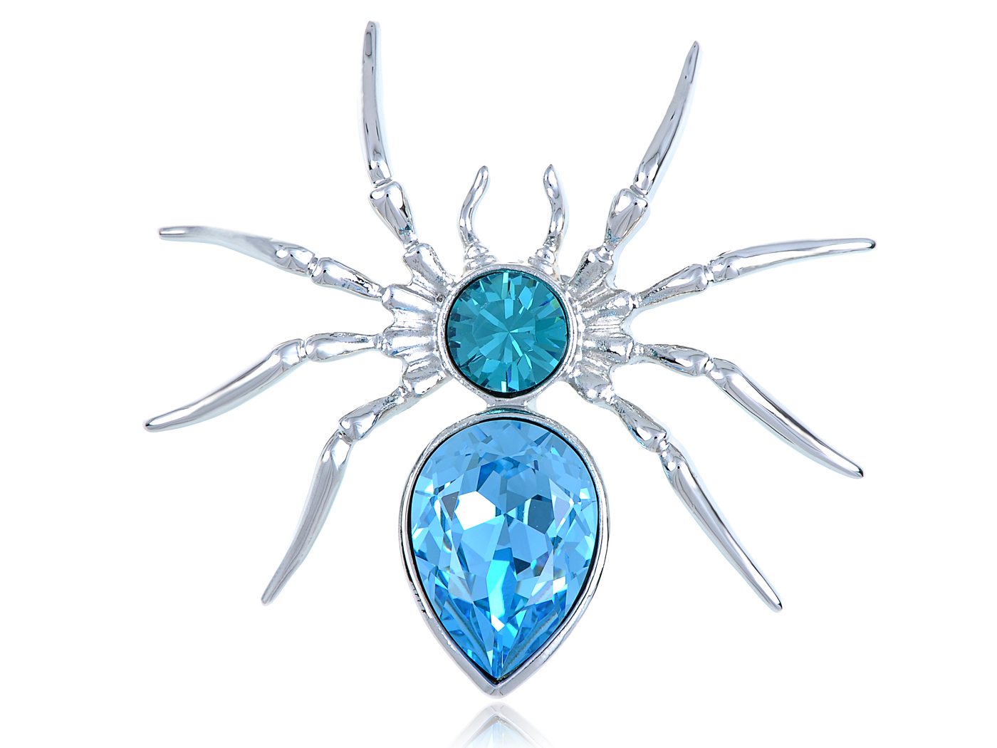 Aquamarine Light Blue Silver Tone An Itsy Bitsy Spider Fashion Brooch by