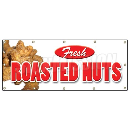 Image of ROASTED NUTS BANNER SIGN fresh hot signs stand peanuts
