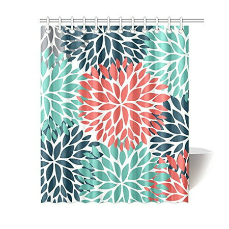 MKHERT Dahlia Pinnata Flower Teal Coral Gray Home Decor Floral Waterproof Polyester Bathroom Shower Curtain Bath Decorations 60x72 Inches