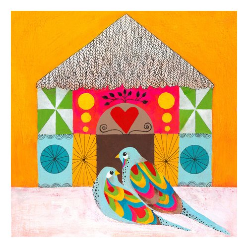 Oopsy Daisy Colorful Lovebirds Canvas Art