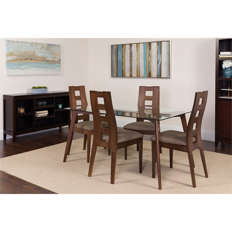Flash Furniture Ross 5 Piece Espresso Wood Dining Table Set With Glass Top And Window Pane Back Wood Dining Chairs Padded Seats Walmart Com Walmart Com