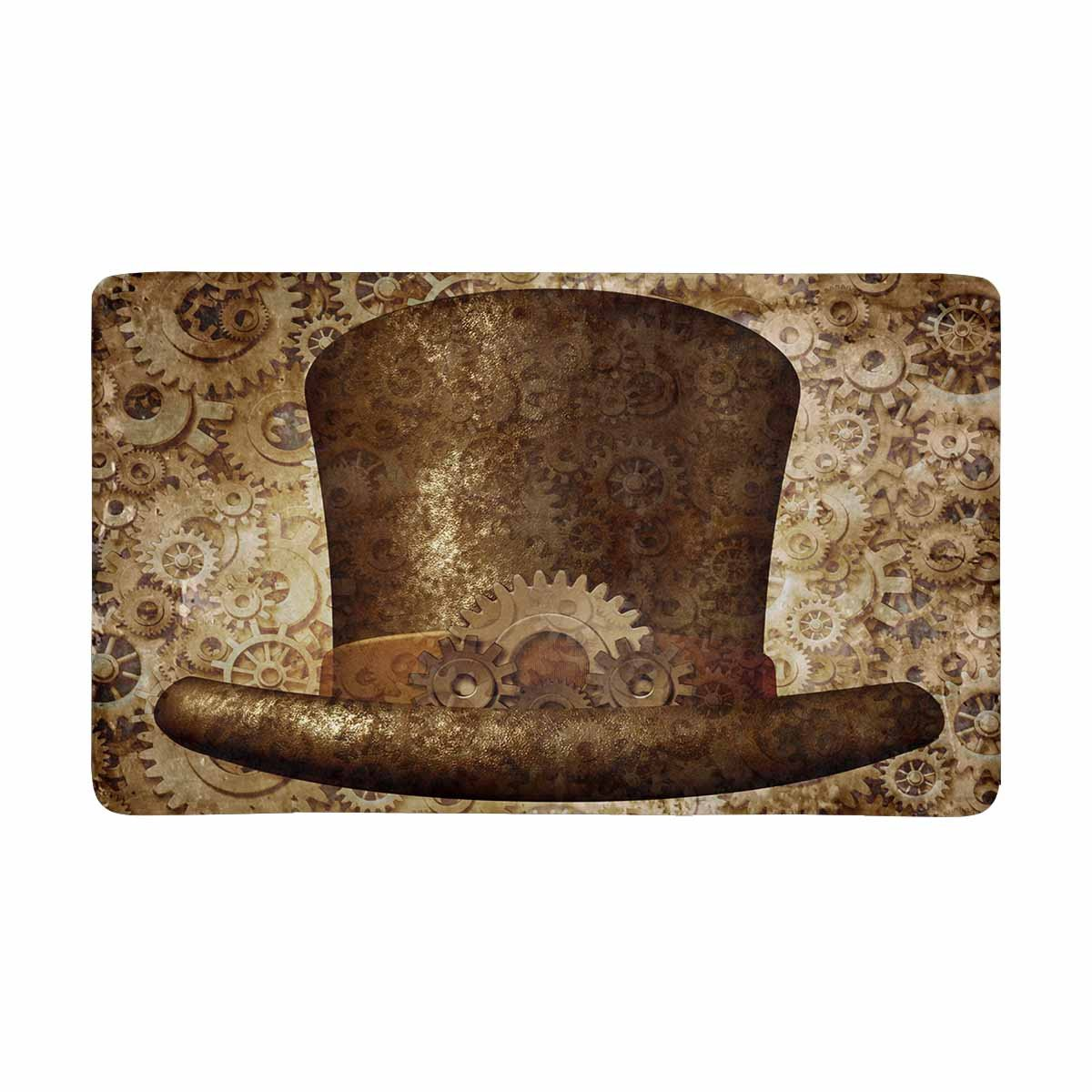 MKHERT Retro Steampunk Top Hat in Metal Copper Gears and Cogs Doormat Rug Home Decor Floor Mat Bath Mat 30x18 inch