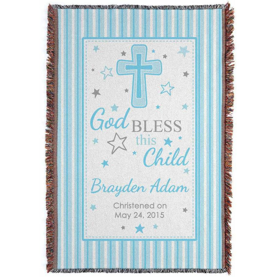 Personalized God Bless This Child Throw, Boy