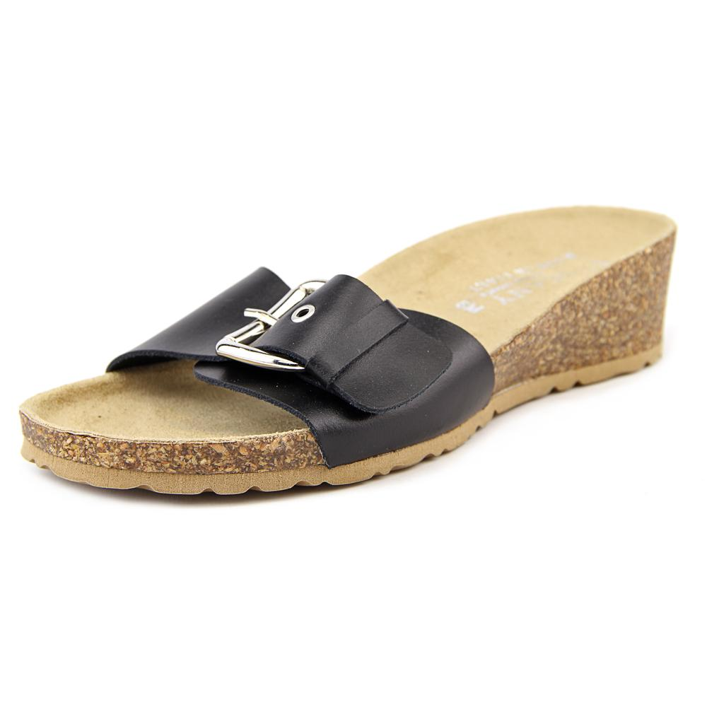 Easy Street Amico Women N S Open Toe Leather Slides Sandal by Easy Street