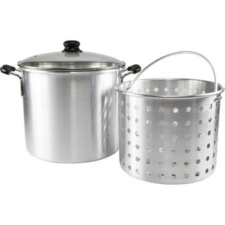 32-Quart Steamer with 21-Quart Basket with Glass Lid and Cool-Touch Handles