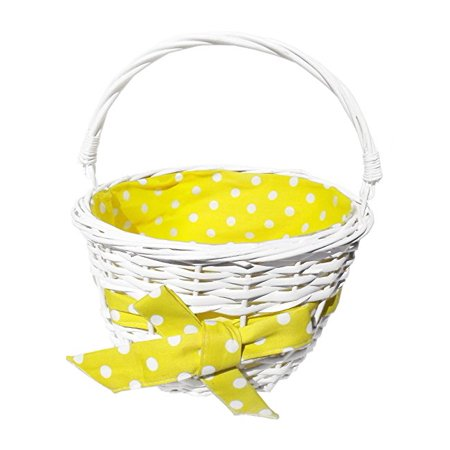 Round Polka Dot Lined Willow Basket, 7 x 10 Inches (Yellow)