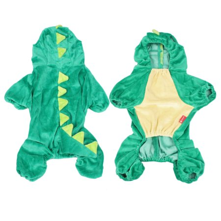 Costume Party Plush Green Dinosaur Design Yorkie Dog Jumpsuit Apparel S - Dinosaur Dog Costume