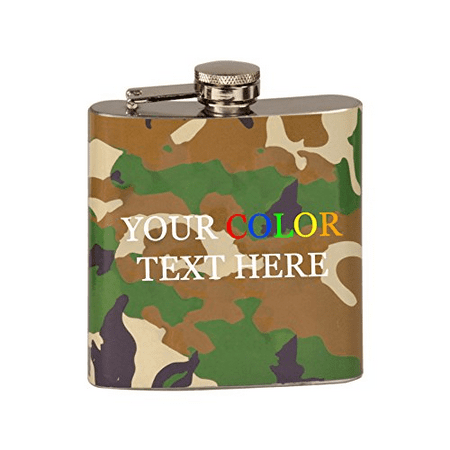 Customized Printed In Full Color Personalized 6 oz. Stainless Steel Flask - Customized Flasks