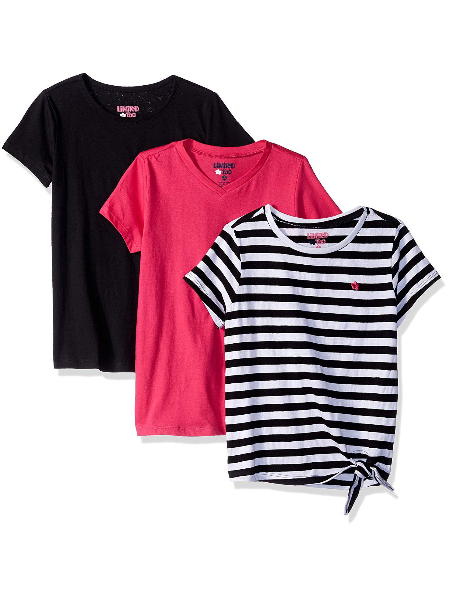 Side Tie StripeV-neck and Crew Tees, 3-Pack (Little Girls & Big Girls)