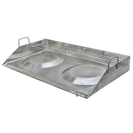 32'' Double Stainless Steel Concave Comal Plancha Griddle Pan WITH RACK Cooking Grill Double Stainless Steel Grill