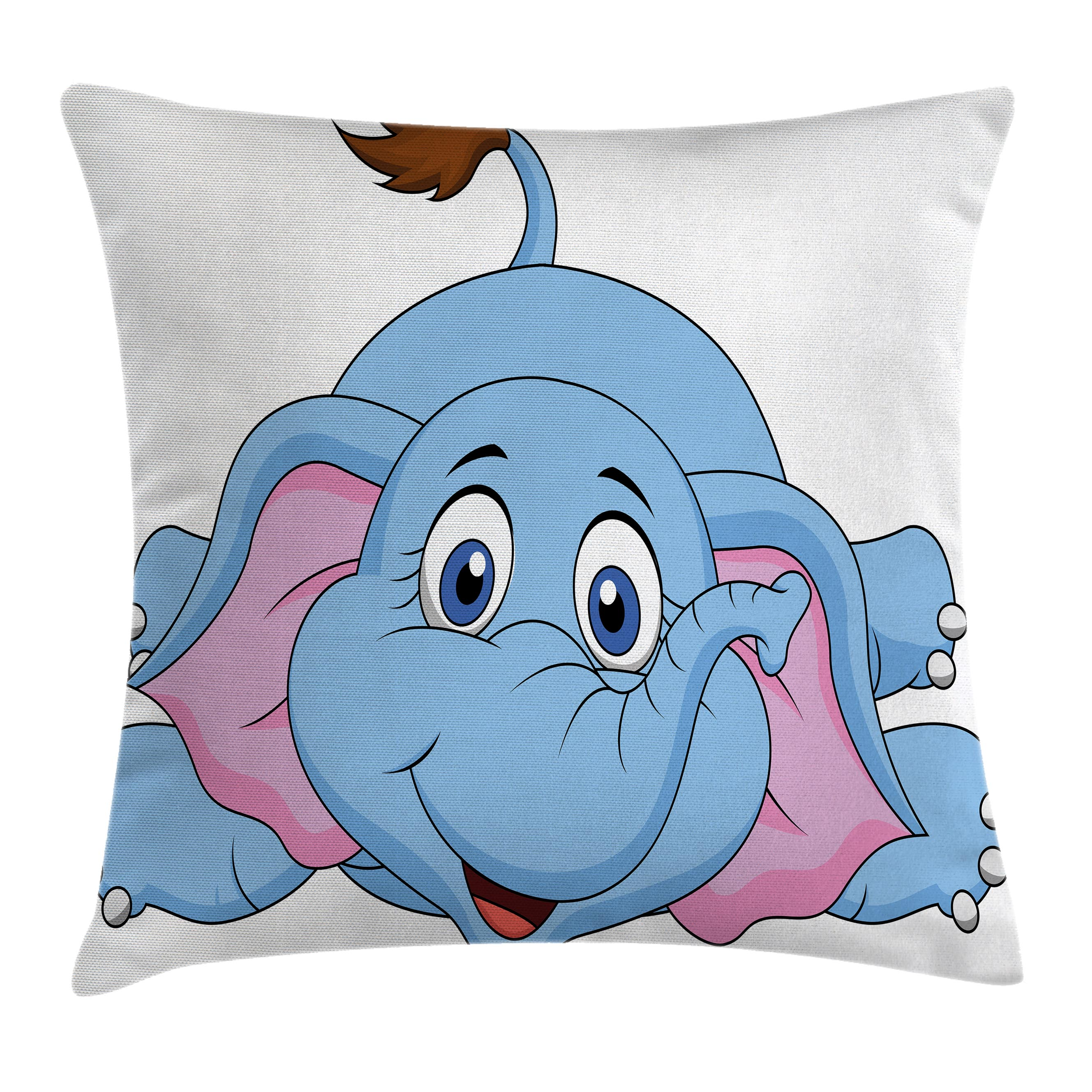 Cartoon Decor Throw Pillow Cushion Cover, Cute Baby Elephant Figure Kids Children Playroom Girls Boys Art Comic Print, Decorative Square Accent Pillow Case, 18 X 18 Inches, Blue Pink, by Ambesonne